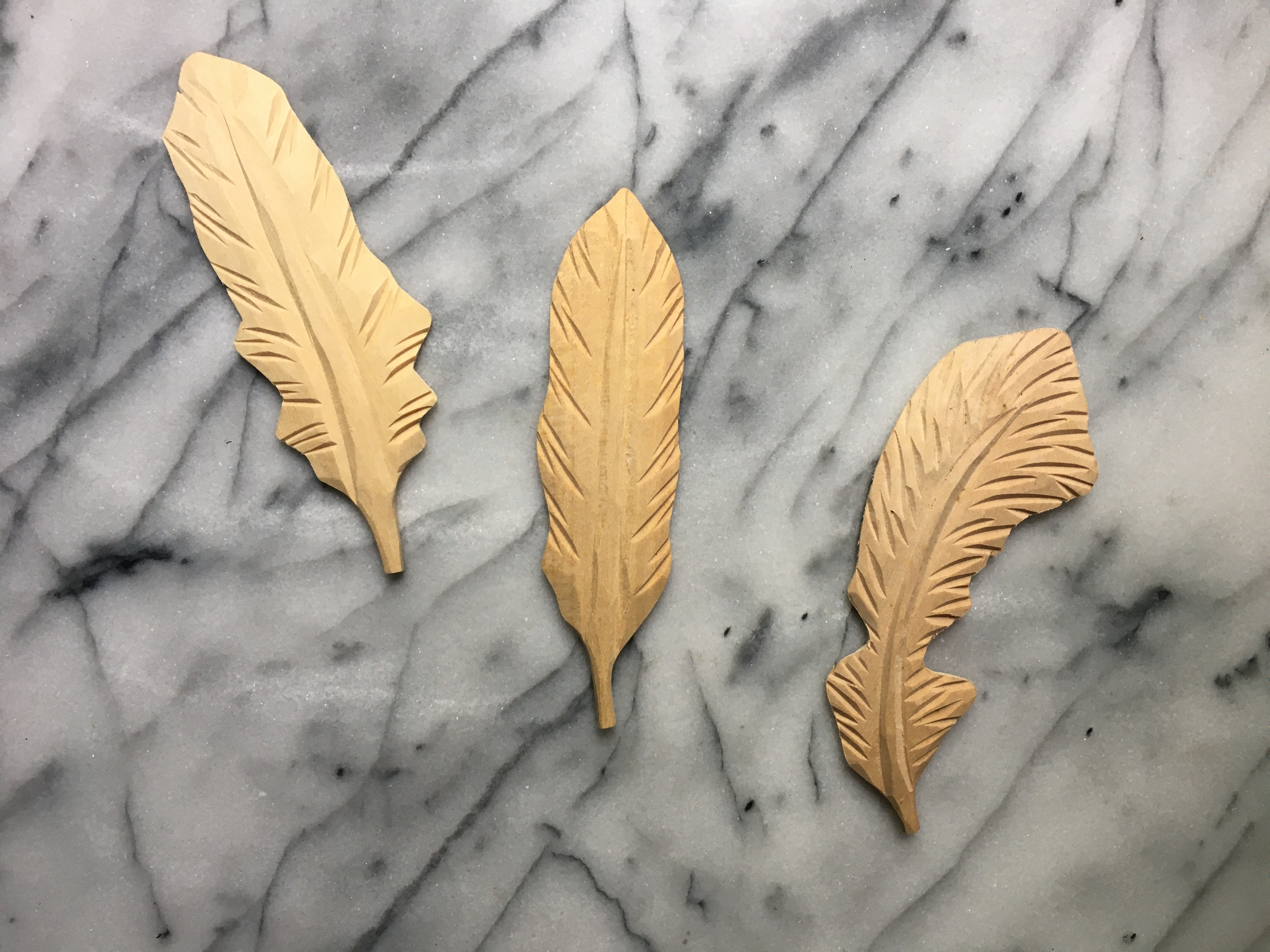 Carved Wood Feathers